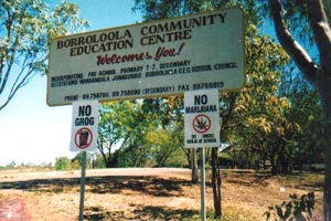 sign at school in outback town borroloola northern territory