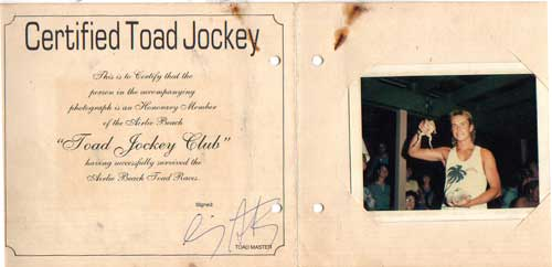 cane toad race certificate