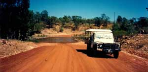 on the road in outback queensland oon the way to hte northern territory