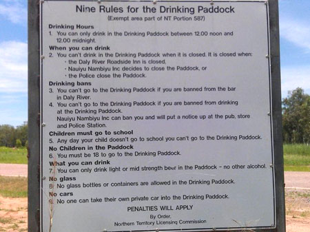 drinking paddock sign
