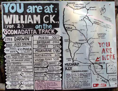 distances from william creek
